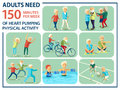 Informational poster template for senior. Some type of beloved and needed physical activities for pensioners: nordic walking