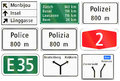 Informational road signs used in Switzerland Royalty Free Stock Photo
