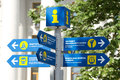 Informative pointer in kyiv direction signpost downtown ukraine Royalty Free Stock Photography