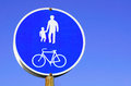 Informative sign traffic warning about bicycle and pedestrian path Stock Image