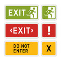 Informative vector signs exit sign order or attention graphic Royalty Free Stock Images