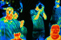Infra red camera scanning peple s temperature Royalty Free Stock Photo