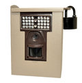 Infra red wildlife trail camera in a locked metal security case isolated on a white background Stock Photography