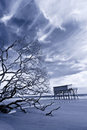 Infrared photo of house still standing on stilts after storm Royalty Free Stock Photo
