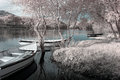 Infrared river boats landscape seeing trees and plants Royalty Free Stock Photo