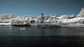 Infrared river douro landscape seeing passenger boats maneuvering near the mouth Royalty Free Stock Photo