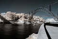 Infrared river landscape of porto seeing old iron bridge and passenger boat Stock Images