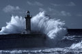 Infrared stormy lighthouse waves over old and pier of the douro river mouth entry used filter toned blue Stock Images
