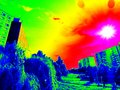 Infrared sunny city with sun on sky Stock Photography