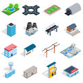 Infrastructure icons set, isometric 3d style Royalty Free Stock Photo