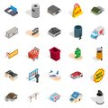 Infrastructure icons set, isometric style Royalty Free Stock Photo