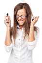 Infuriated woman with cellphone Royalty Free Stock Photos