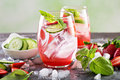 Infused detox water with strawberry Royalty Free Stock Photo
