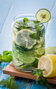 Infused water mix of cucumber, lemon and mint Royalty Free Stock Photo