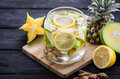 Infused water mix of  starfruit, ginger, and pineapple Royalty Free Stock Photo