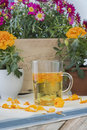 The infusion of the petals Tagetes Royalty Free Stock Photo