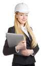 Ingénieur woman with laptop Photo stock
