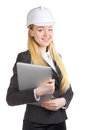 Ingénieur woman with laptop Photos stock