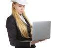 Ingegnere woman with laptop Immagine Stock Libera da Diritti