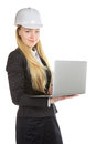 Ingenieur woman with laptop Stockfotografie