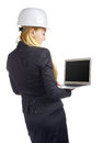 Ingenieur woman with laptop Royalty-vrije Stock Afbeelding