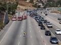 Ingorgo stradale del fuoco di spazzola su 118 Fwy Fotografie Stock Libere da Diritti