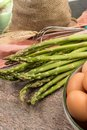 Ingrediens for delicious green asparagus quiche, tasty vegetaria Royalty Free Stock Photo