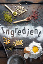 Ingredient for bakery on wood background Stock Photo