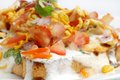 Ingredient of bread dahi papdi chaat traditional with and yogurt Stock Image