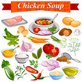 Ingredient for Indian Chicken Soup recipe with vegetable and spices