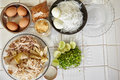Ingredient for making soto ayam traditional chicken soup in indonesia Stock Photo