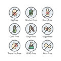 Ingredient Warning Label Icons. Allergens Gluten, Lactose, Soy, Corn, Diary, Milk, Sugar, Trans Fat. Vegetarian and Organic symbo