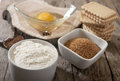 Ingredients for baking in different bowls Stock Photo