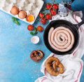 Ingredients for breakfast with sausage Royalty Free Stock Photo