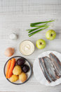 Ingredients for a classic herring with vegetables Royalty Free Stock Photo
