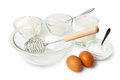 Ingredients cooked to dough for pancakes isolated on white background Royalty Free Stock Images