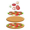 Ingredients for cooking pizza. Vector icon food
