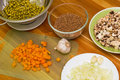 Ingredients for cooking raw materials the preparation of buckwheat risotto Royalty Free Stock Image