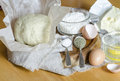 Ingredients for the dough eggs flour butter salt oil from series cooking vegetable pie Royalty Free Stock Photos