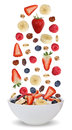 Ingredients of fruit muesli for breakfast in bowl with fruits li Royalty Free Stock Photo