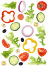 Ingredients for green salad with tomatoes, onion, olives and cuc Royalty Free Stock Photo