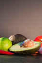 Ingredients for guacamole, avocado, lime, onion, garlic, tomato, Royalty Free Stock Photo