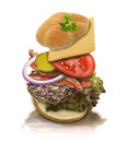 Ingredients of hamburger on white background Royalty Free Stock Photos