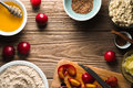 Ingredients for healthy breakfast on the wooden table top view Royalty Free Stock Photo
