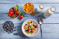 Ingredients for a healthy and nutritious breakfast on old wooden table Royalty Free Stock Photography