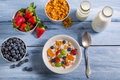 Ingredients for a healthy and nutritious breakfast on old wooden table Royalty Free Stock Photos