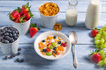 Ingredients for a healthy and tasty breakfast on old wooden table Stock Photos