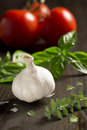 Ingredients for italian recipes garlic basil oregano and tomatoes are some of the common found in Royalty Free Stock Photo
