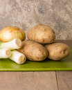 Ingredients for making leek soup Royalty Free Stock Photo