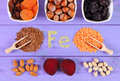 Ingredients and products containing ferrum and dietary fiber, healthy food Royalty Free Stock Photo